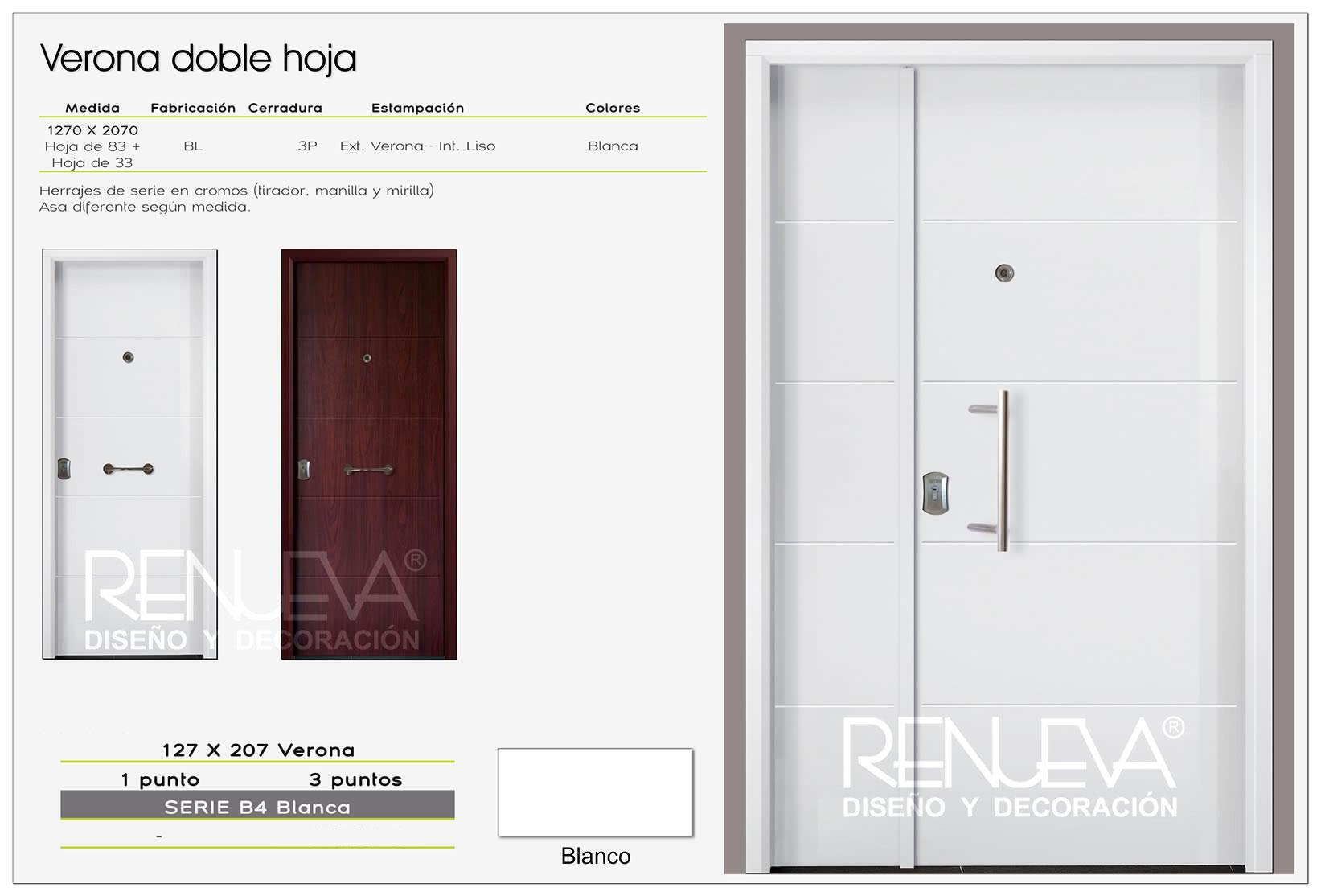 Puerta de entrada acorazada de doble hoja modelo verona for Modelos de puertas de ingreso