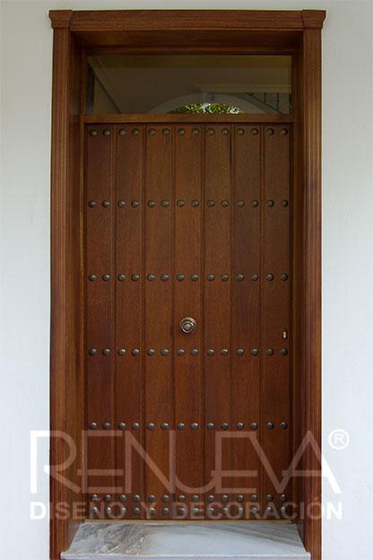 Puertas de entrada de madera maciza puertas exterior - Puertas de madera de entrada ...