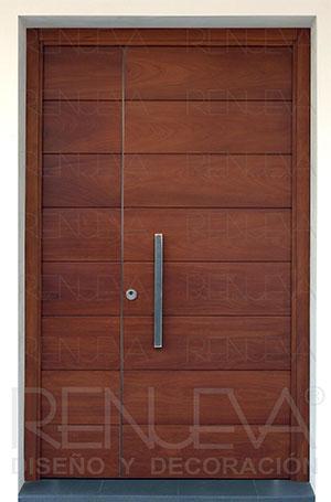 Puertas de entrada madera de iroko macizas y blindadas for Puertas macizas exterior