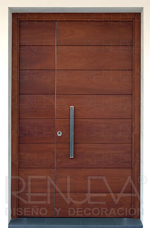 Puertas de entrada madera de iroko macizas y blindadas for Puertas dobles de madera exterior