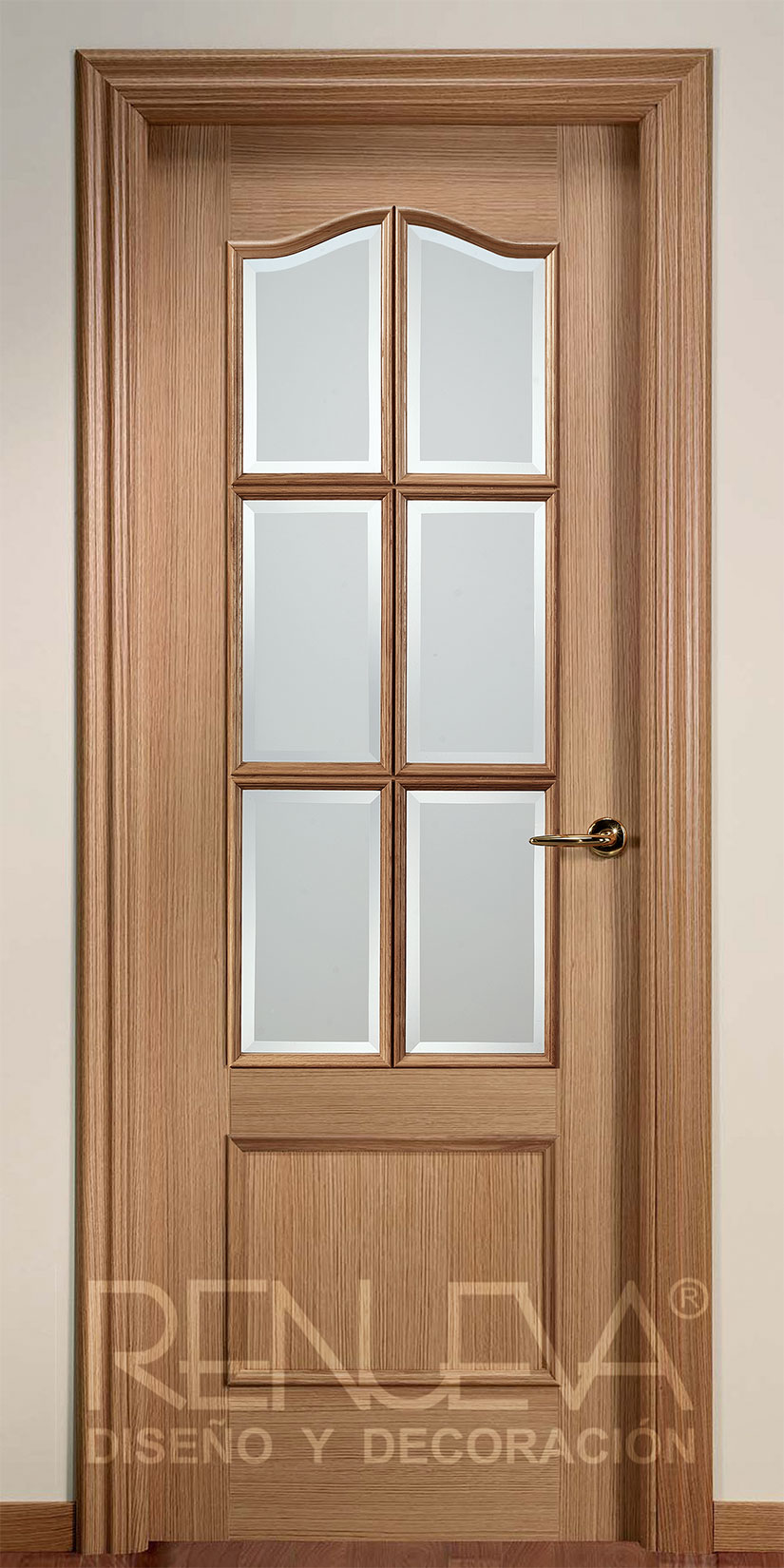 Oferta puerta modelo 32 6v madera de roble barnizada for Decor 1 32