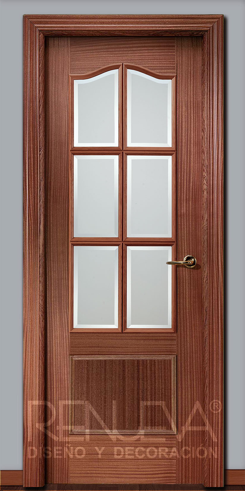 Oferta puerta modelo 32 6v madera de sapelly barnizada for Decor 1 32