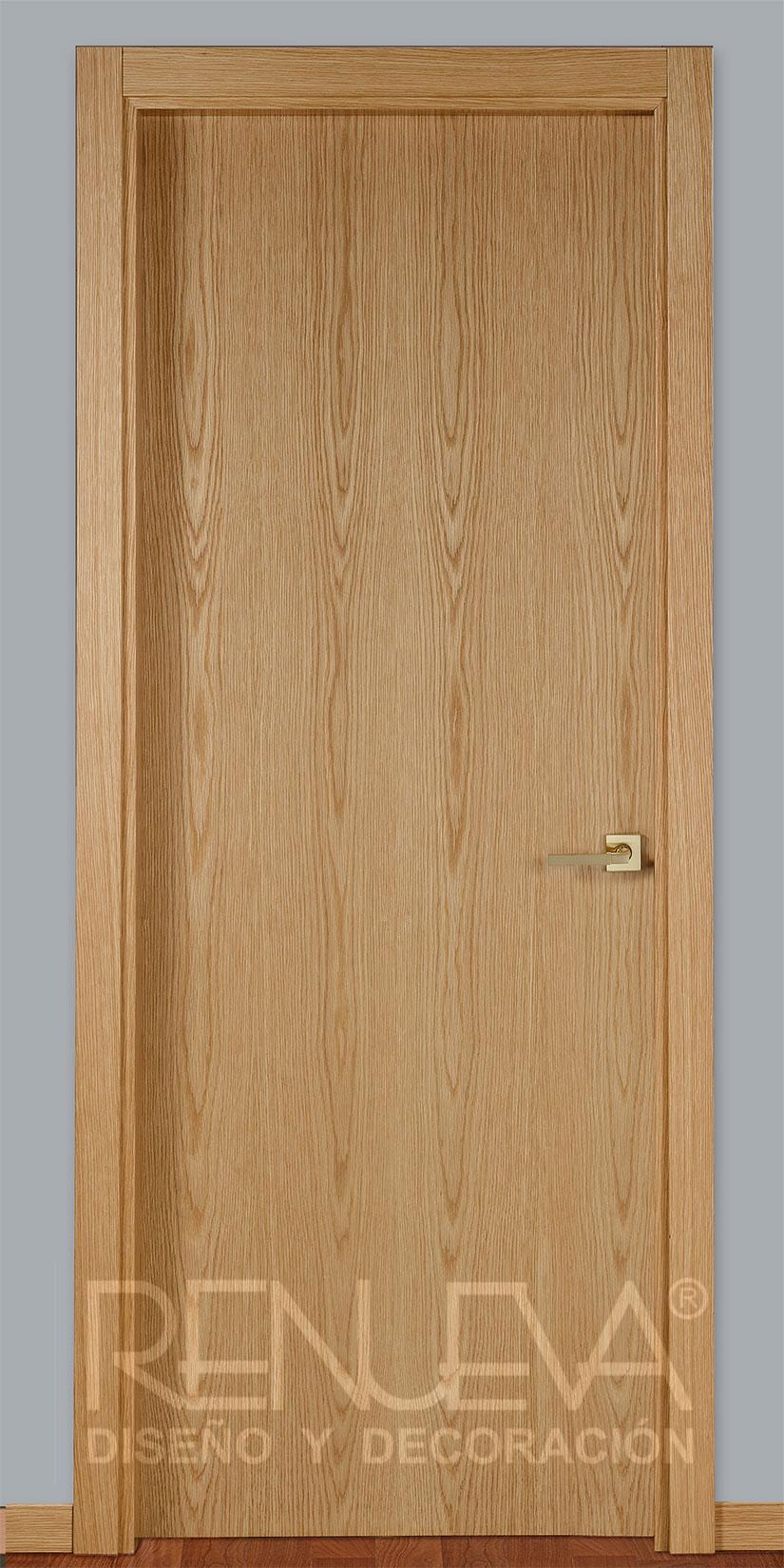 oferta puerta lisa madera de roble barnizada