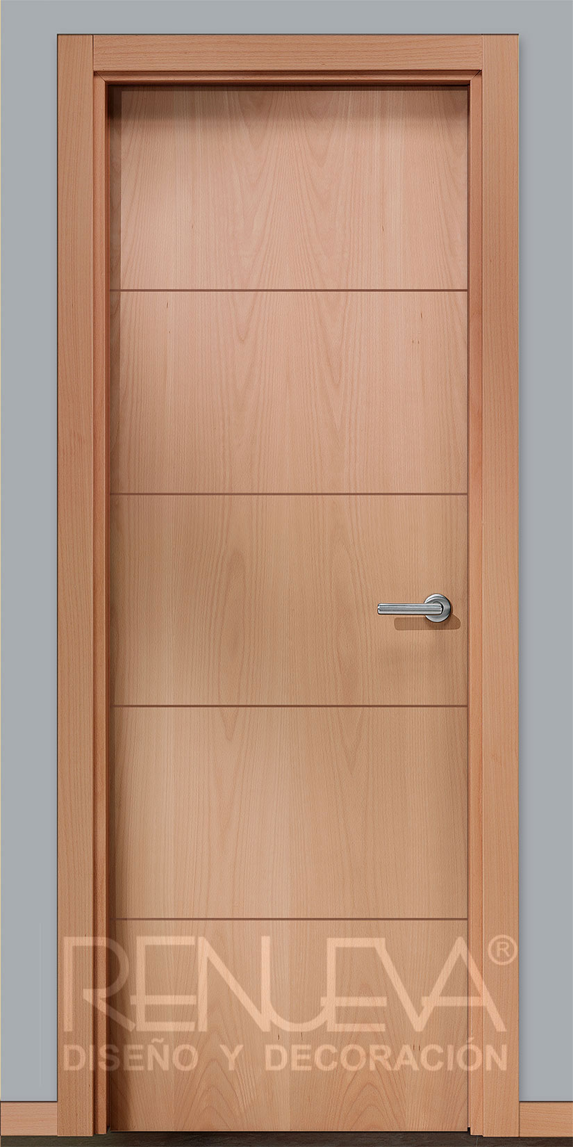 Puerta lisa rallada modelo rt5p haya melamina for Puertas de madera en concepcion