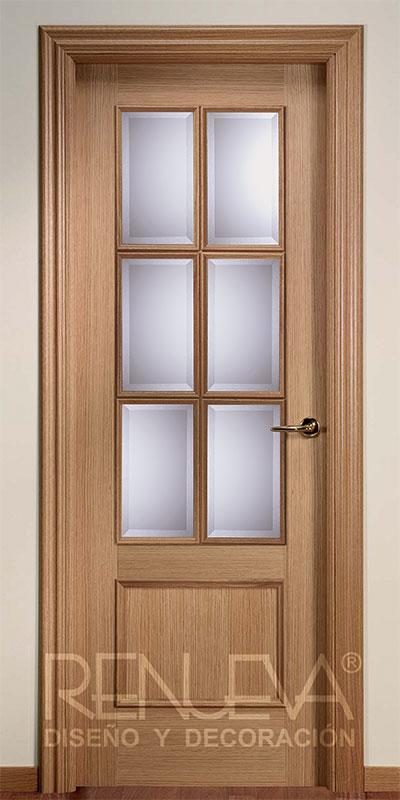 Oferta puerta modelo f2 6v madera de roble barnizada for Puertas de madera en oferta